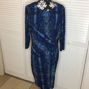Calvin Klein Snakeskin Shift Dress w Side Tie 16W